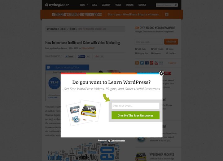 wpbeginner.comの出口ポップアップは振動するアニメーションを使っており、そのせいでポップアップがさらにうっとうしいものになっている。