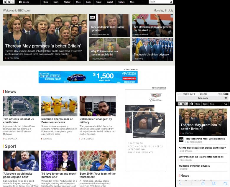 BBCのデスクトップバーション(左)と、モバイルバージョン(右):デスクトップサイトで、「More」(:そのほかのカテゴリー)タブのあるナビゲーションバーを利用している。これはiOSのタブバーにある、バーに表示していないタブを収めるための「More」タブと同種のものである。