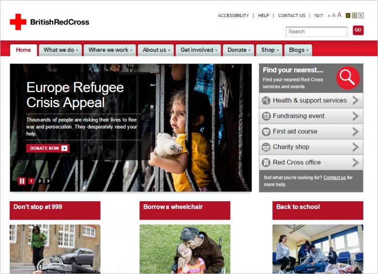 図 British Red Crossのメインサイト
