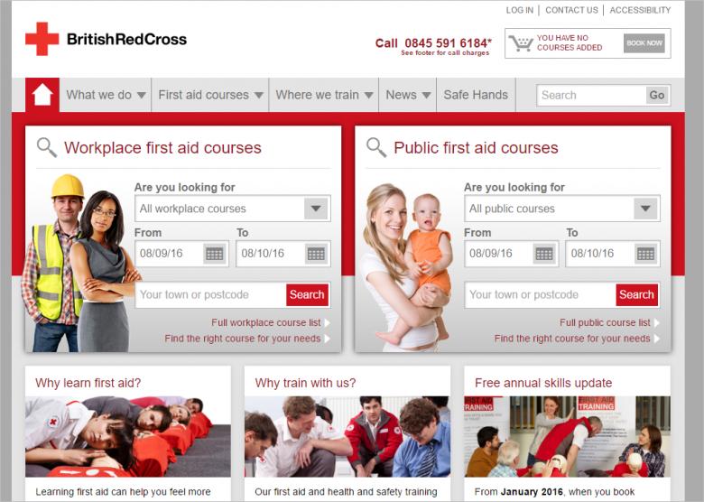 図 British Red Crossのトレーニングに関するサブサイト
