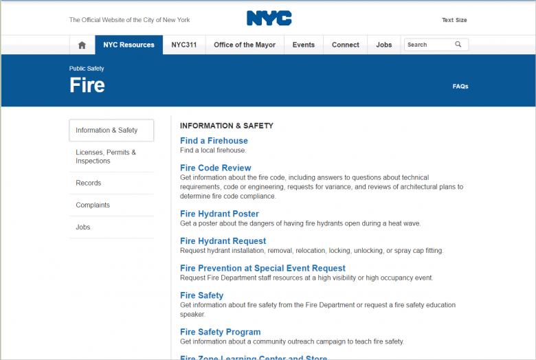 図 NYC.govの「Fire」のページ。