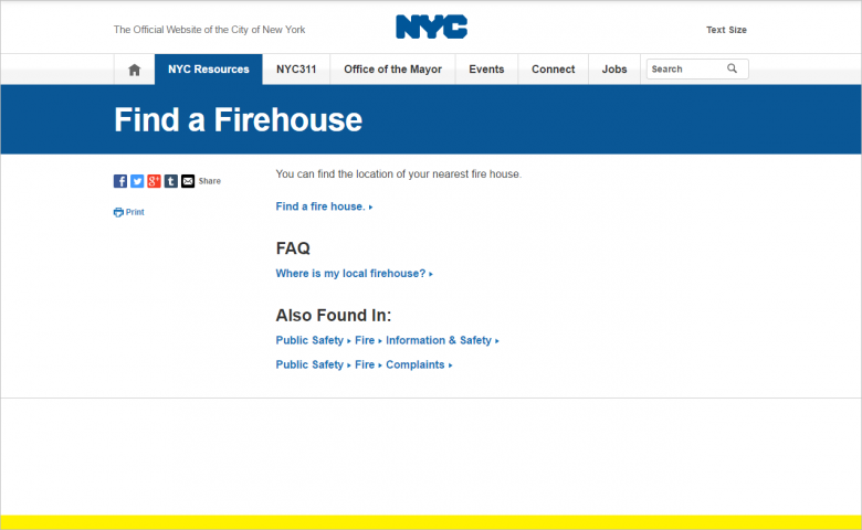 図 NYC.govの「Find a Firehouse」のページ。